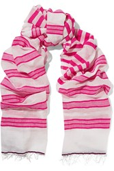 Lemlem Zare Striped Cotton Blend Gauze Scarf Purple