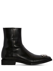 Balenciaga 20Mm Bb Logo Leather Boots Black