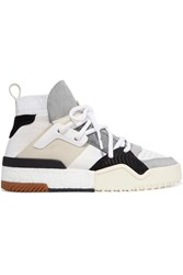Adidas Originals By Alexander Wang Suede Trimmed Leather High Top Sneakers White