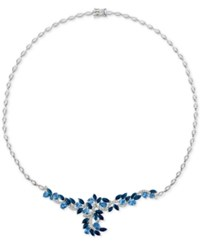 Le Vian Precious Collection Sapphire 11 9 10 Ct. T.W. And Diamond 1 Ct. T.W. Collar Necklace In 14K White Gold Only At Macy's