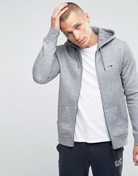 Armani Jeans Zip Up Hoodie With Logo In Grey Grey
