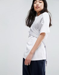 Asos White T Shirt With Woven Cross Front White