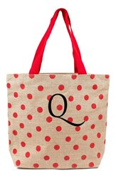 Cathy's Concepts Personalized Polka Dot Jute Tote Red Red Q