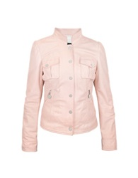 Forzieri Pink Washed Leather Jacket With Mandarin Collar