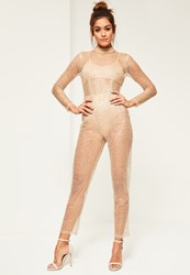 Missguided Gold Glitter Mesh Long Sleeve Jumpsuit Nude