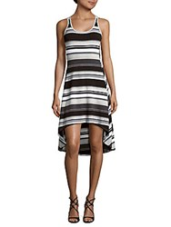Andrew Marc New York Striped High Low Dress Black Combo