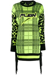 Philipp Plein Tartan Knitted Dress Yellow