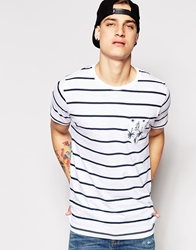 Pull And Bear Pullandbear T Shirt In Stripe With Palm Pocket White