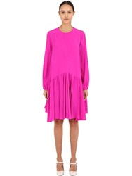 Rochas Silk Crepe De Chine Dress Fuchsia
