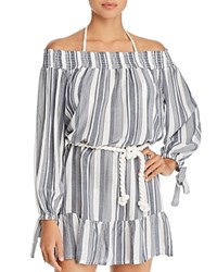 Surf Gypsy Off The Shoulder Stripe Dress Swim Cover Up Navy Ivory