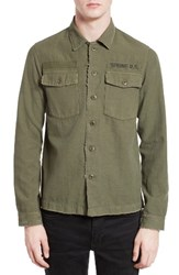 The Kooples Men's Embroidered Abrasion Effect Cotton And Linen Shirt Olive