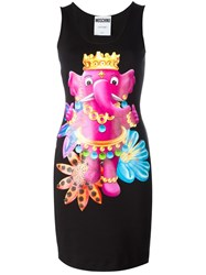Moschino Crowned Elephant Tank Dress Black