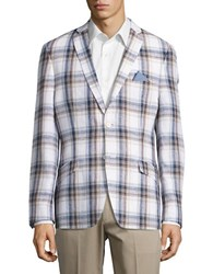 Tallia Orange Plaid Linen Blazer White
