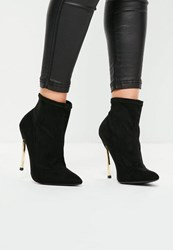 Missguided Black Curved Metal Heel Ankle Boots