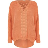 River Island Womens Orange Cable Knit Lace Up Front Jumper
