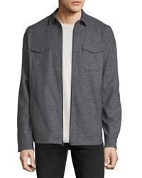 Civil Society Poplin Line Zip Front Overshirt Jacket Charcoal