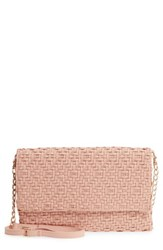 Sole Society Woven Faux Leather Clutch Pink Blush
