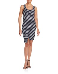 Red Haute Stripe Asymmetric Hem Sheath Dress Navy
