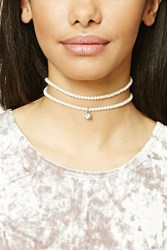 Forever 21 Faux Pearl Choker Set Cream Gold