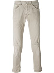 Dondup Knee Distressed Straight Leg Jeans Nude And Neutrals