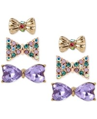 Betsey Johnson Gold Tone 3 Pc. Set Stone And Crystal Bow Stud Earrings Multi