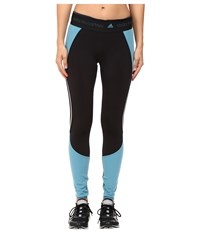 Adidas By Stella Mccartney Run Clima Heat Long Tights Ax7103 Black Harbour Blue Women's Casual Pants