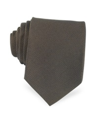 Forzieri Solid Woven Silk Tie Brown