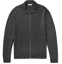 Cos Melange Wool Zip Up Cardigan Charcoal