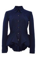 Zac Posen Navy Cotton Poplin Shirt With Pleated Peplum