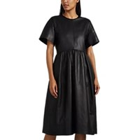 Narciso Rodriguez Leather A Line Dress Black