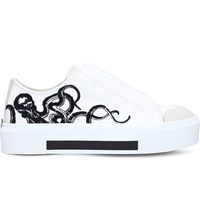 Alexander Mcqueen Octopus Embroidered Leather Platform Trainers White Blk