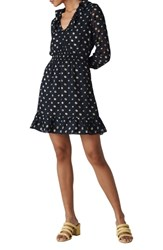 Whistles Aggie Embroidered Dress Navy Multi