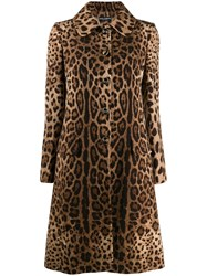 Dolce And Gabbana Leopard Print Coat Brown