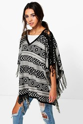 Boohoo Lace Up Aztec Tassel Poncho Black