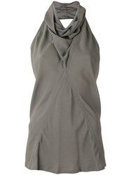Rick Owens Cowl Neck Tank Top Grey