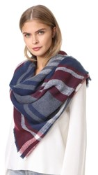 Hat Attack Stripe And Check Blanket Scarf Burgundy Navy