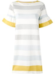 Chinti And Parker Striped Bell Sleeve Dress Women Cotton M White