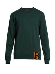 Raf Simons College R Cotton Blend Sweatshirt Green Multi