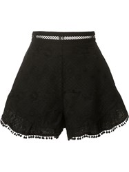 Zimmermann High Rise Ruffled Shorts Black