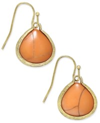 Macy's Gold Tone Marble Look Stone Drop Earrings Coral
