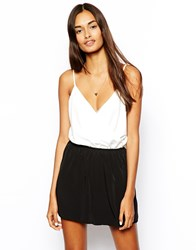John Zack Mono Cami Playsuit White Black Multi