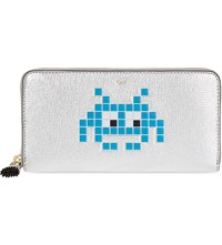 Anya Hindmarch Space Invaders Leather Wallet Blue Silv Metal Capra
