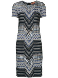 Missoni Zig Zag Knitted Dress Nylon Viscose Wool Blue