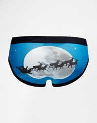 Asos Briefs In Microfibre With Santa Sledge Christmas Print Blue