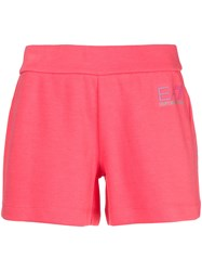 Emporio Armani Ea7 Logo Printed Shorts Pink And Purple