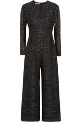 Emilia Wickstead Leslie Metallic Boucle Silk Jumpsuit Black