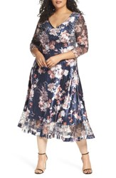 Komarov Plus Size Women's Charmeuse And Lace A Line Dress Moon