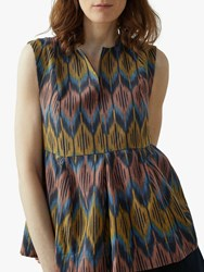 Toast Ikat Sleeveless Pleat Front Top Indigo