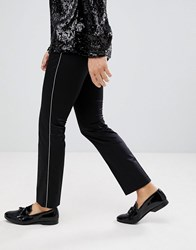 Noose And Monkey Super Skinny Pants In Cotton Sateen With Side Stripe Black
