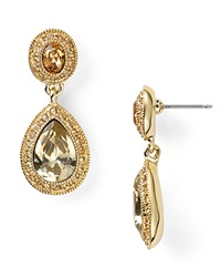 Carolee Pave Stone Double Drop Earrings Gold Topaz